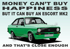 Ford Escort Mk2 RS Mexico 2 Door Art illustration Key Ring **MODENA GREEN**