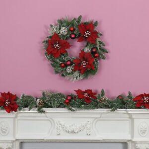 Indoor-Natale-Poinsettia-Garland-amp-corona-con-decorazioni-Home-Porta-MANTEL