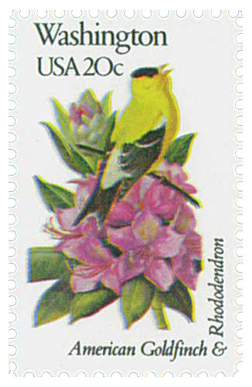 1982 20c State Birds & Flowers, Washington American Gol