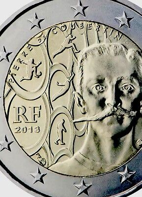 France 🇫🇷 2 Euro Coin 2013 Commemorative Olympics Coubertin New BUNC from Roll