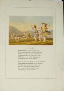 Old-Antique-Print-Hemans-Poem-Poet-Poetry-Artist-Children-Sheep-Art-C1875-19th