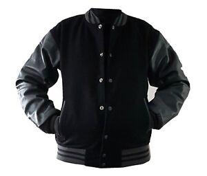 grigia in manica L vera con Giacca Windhound nera college pelle americana 7FwPz
