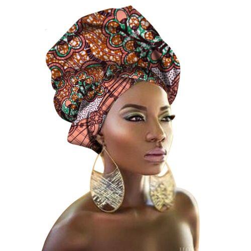 Women/'s Turban Print Knit Head Wrap Hair Cotton Scarf Tie Chemo African