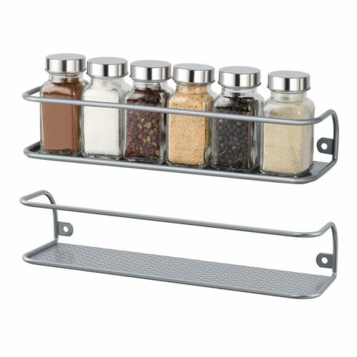 2 Pack NEX Spice Racks Wall Mounted Spice Storage Silver