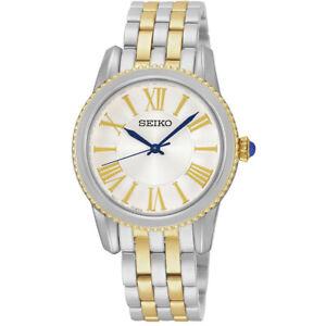 Seiko-Neo-Classic-SRZ438-P1-Silver-Gold-Tone-White-Dial-Women-039-s-Analog-Watch