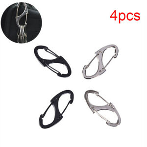 4x-Locking-Carabiner-Keychain-8-Ring-Quick-Release-Buckle-Protable-Quickdraw-BSC