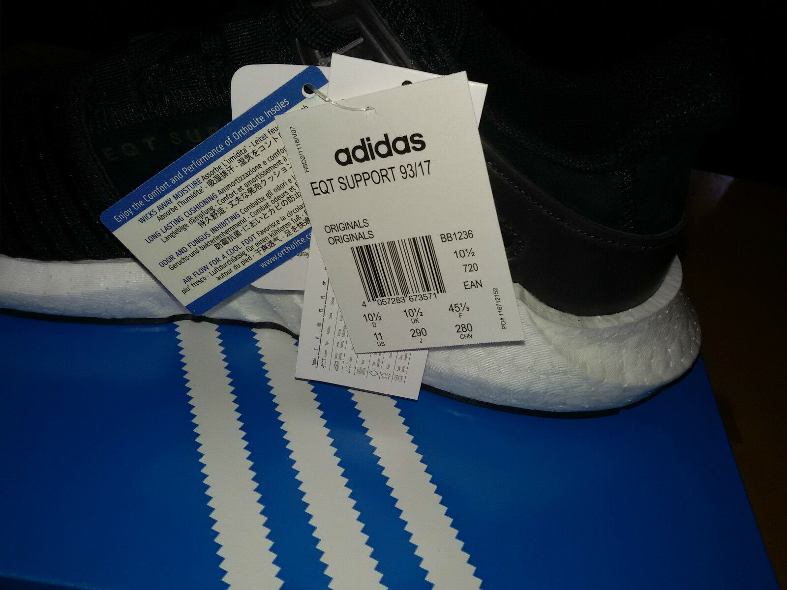 Adidas 93/1710.5 EQT Ultra Support Boost Noir blanc  BB1236 Ultra EQT Leather Free 0601f6