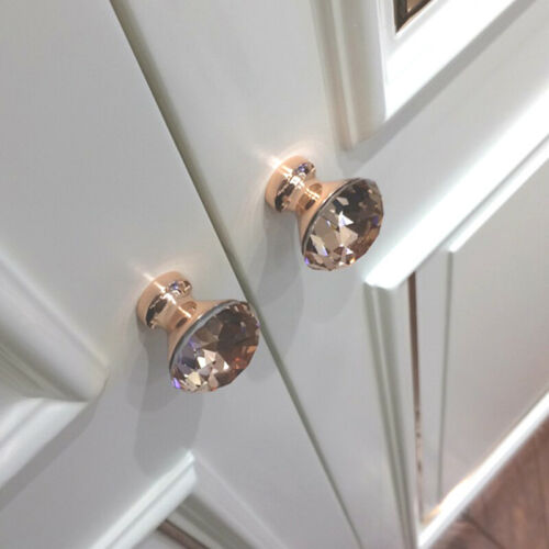 1*Rose Gold Rhinestone Glass Crystal Door Knob Drawer Pull Handle-30mm
