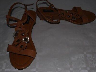Damas Marrón episodio zapatos talla 37 Reino Unido 4 Diseño Floral Sandalias de tacón bajo