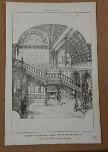 Antique-Architects-print-Mercers-hall-New-Staircase-The-builder-1881