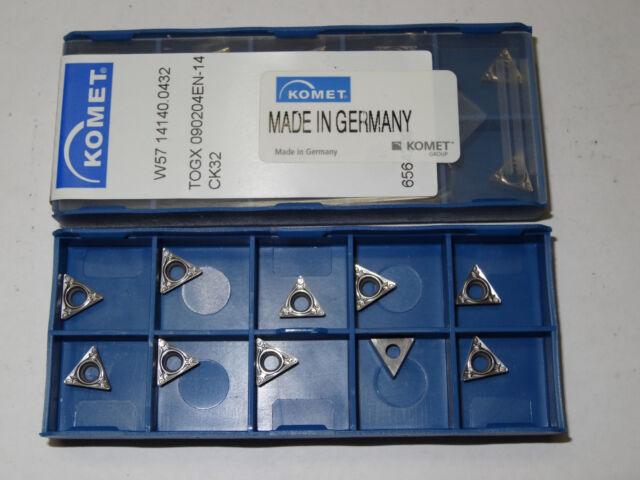 10 new KOMET W57.14140.0432 TOGX 090204EN-14 CK32 Carbide Turning Inserts