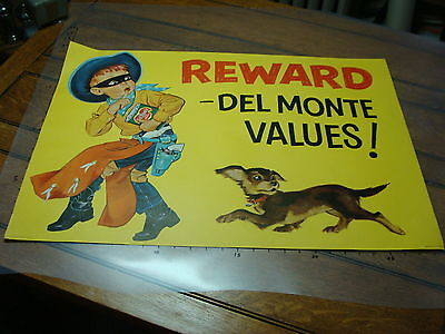 Original 1957 Cowboy Advertising Sign Collectibles Poster For Del Monte Double Sided #3 Gun Sale Overall Discount 50-70% Historical Memorabilia
