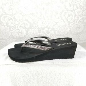 69b2af544f84 B61 REEF Krystal Star Glitter Wedge Flip Flop Sandals 9 Silver Gray ...