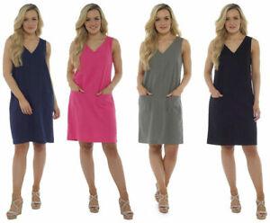 Linen-Blend-Shift-Dress-Ladies-Plain-amp-Floral-Print-Pocket-Tunic-Dresses-10-22