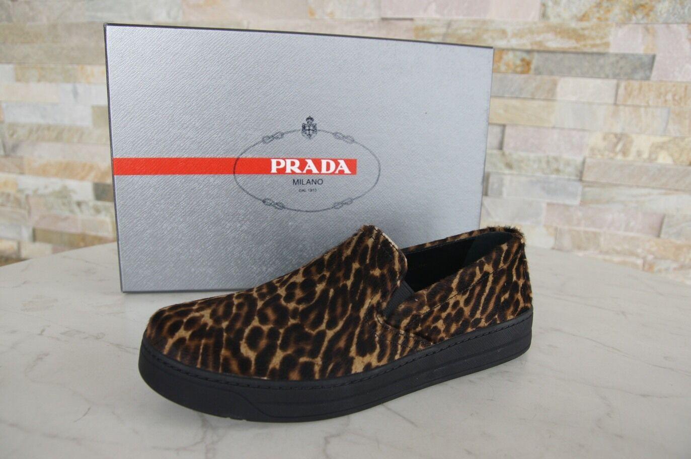 PRADA Gr 36,5 Slipper Mokassins Slip-Ons Schuhe Leopard Kalb NEU ehem.