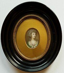 Uni (b175) Miniature Effigie, Portrait D'une Jeune Dame, Gouache, Pour 1820-afficher Le Titre D'origine ProcéDéS De Teinture Minutieux