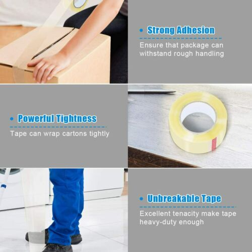 """Heavy Duty Transparent Packing Tape 36 Rolls Clear 2/"""" Wide 110 Yards Length"""