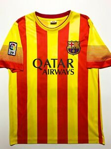 online store 723eb 3f6d5 Details about FC BARCELONA NEYMAR JR YELLOW RED STRIPE MENS SOCCER JERSEY  T-SHIRT SIZE: SMALL