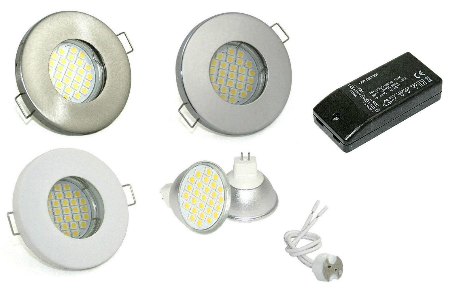 Einbaustrahler Set Bad & Dusche Feuchtraum 12V MR16 Trafo LED Einbaurahmen Spot