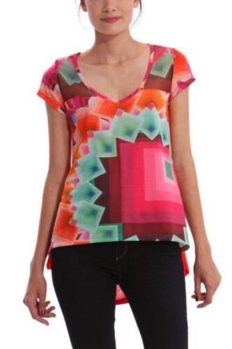 Desigual Yury Top S XL 10-16 RRP£64 Soft Modern Loose Shape Orange Pink Bright