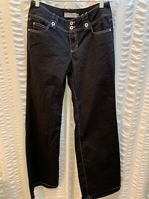 Women's Clothing Tribal Jeans Extensible Nwot Black W/wht Stitch Womens Size 6 Five Pocket Flare