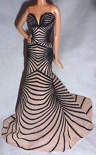DRESS ~ BARBIE DOLL MODEL MUSE BLACK GLITTER NUDE ZUHAIR MURAD EVENING GOWN