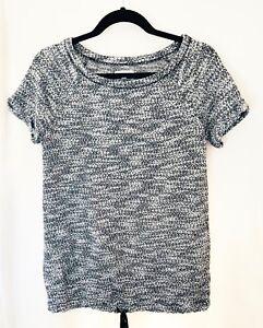 Lou-amp-Grey-Womens-Top-Small-Short-Sleeve-Black-Cotton-Blend-Drawstring-Hem-70