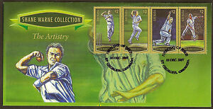 GRENADA-2007-SHANE-WARNE-THE-ARTISTRY-4v-GOLD-Borders-FDC