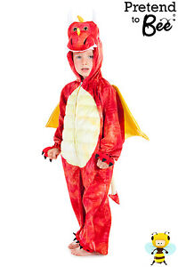 BOYS GIRLS CHILDRENS KIDS WELSH RED DRAGON DINOSAUR COSTUME OUTFIT AGE 3 4 5 6 7