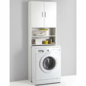 Mobile Bagno Da Incasso Per Lavatrice Armadio Bagno Pensile Con Ripiani Bianco Ebay