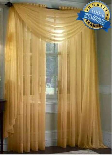 Gold Scarf Voile Window Curtain Panel Solid Sheer Valance Home Kitchen Curtains