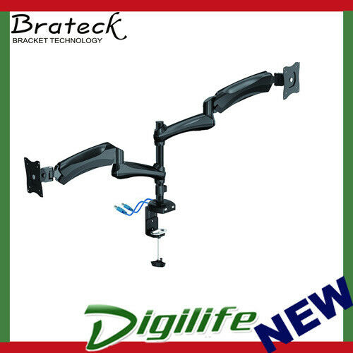 "Brateck Counterbalanced DUAL Monitor Desk Mount wUSB3.0 Port Fits VESA 13""27"""