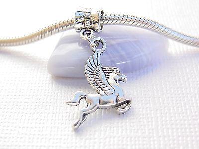 Cute Silver Tone Pegasus Flying Horse Slider Dangle Charm fits European Bracelet