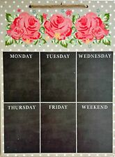 Shabby Chic Weekly Menu Blackboard Memo Notice Chalk Board Pink Rose Planner
