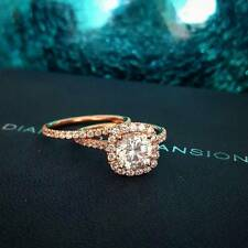 2.20 Ct Natural Cushion Halo Pave Diamond Engagement Ring w/ Matching Band