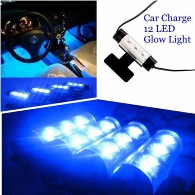 4x 3 LED Blue Car Charger Interior Accessories Foot Car Decorative 4in1 Light