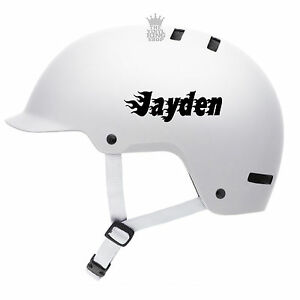 2 x Personalised Name Stickers for Bike Helmets Flames Fire Vinyl Decal BMX Kids