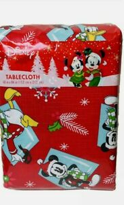 New Disney Mickey Minnie Daisy Donald Christmas PEVA Tablecloth 60X84 Red NWT