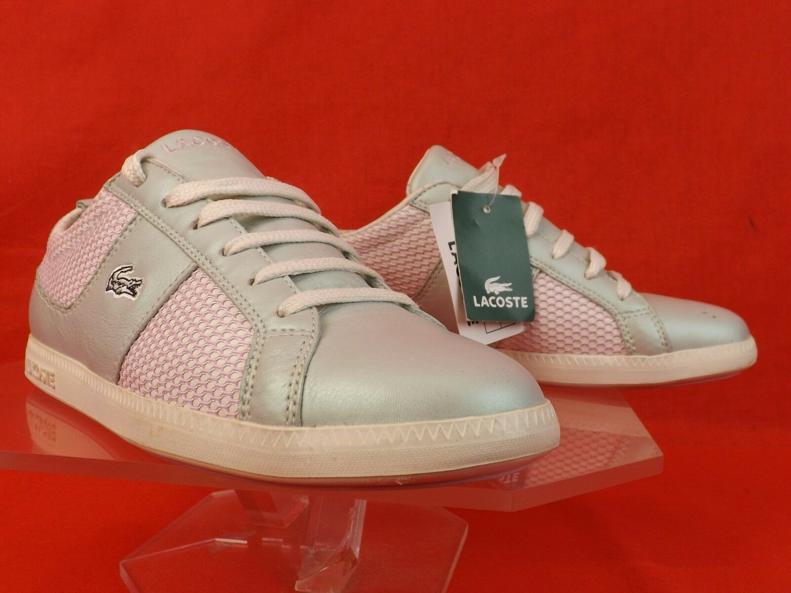 NWB LACOSTE PEARL PINK MIX OBSERVE LACE UP UP UP SNEAKERS 6 c95049