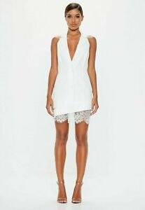Missguided-PEACE-LOVE-Halter-Neck-Lace-Hem-Blazer-Dress-UK-8-EU-36-US-4-AUS-8