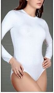 WHITE BODY SUIT STRETCH ROUNDNECK LONG SLEEVE XL(UK16)