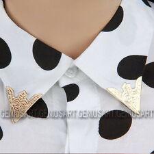 2 Paia Oro Chiaro Bianco Camicia Blusa Metallizzato Metallo Colletto A Punta