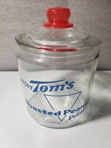 """VTG Blue Tom's Toasted Peanuts General Store Glass Jar With Lid ~ 10"""" Tall Clean"""