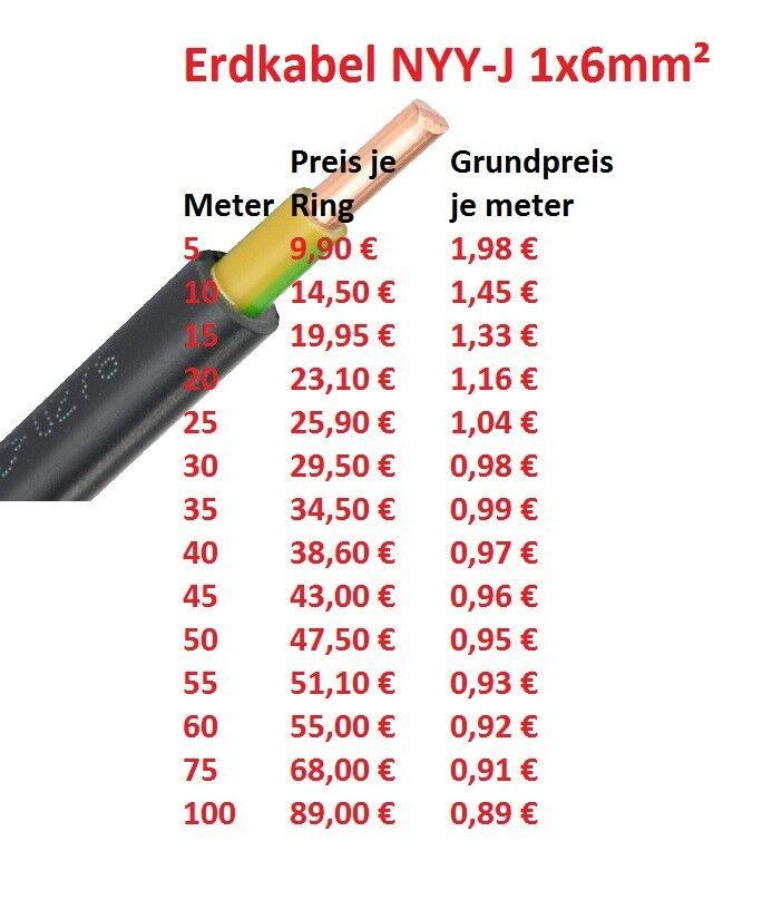 NYY-J 1x6 mm² Erdkabel, Verlegekabel XBK