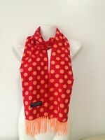 100% Cashmere Scarf Polka Dot Design Red Orange Made In Scotland Super Soft