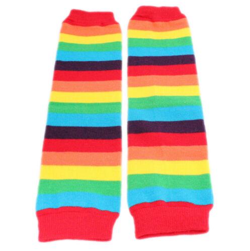 Baby Kids Boys Girls Pink Red Rainbow Stripes Leg Warmer Party Fancy Dress Dance