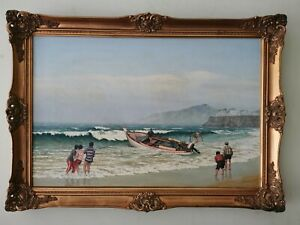 Stunning-Large-Original-Seascape-Oil-Painting-Ornate-Frame-Signed-Authur-Parry