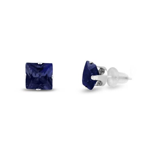 Square Cut Lab créé Saphir Bleu 10k or Blanc Boucles d/'oreille-choisir une taille