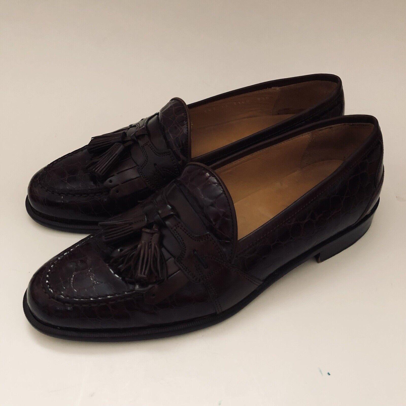 Johnston Murphy Mens Shoes Wingtip Tassel Kiltie Loafers Brown Leather US 8.5 M