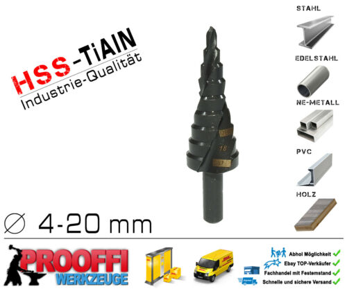 Niveaux Forets Spiral épluche Perceuse KONUS métal Fraise HSS TiAlN Ø 4-20 mm c9268